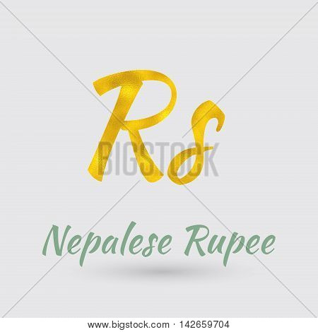 Symbol of the Nepalese Rupee Currency with Golden Texture. Text with the Nepal Currency Name.Vector EPS 10