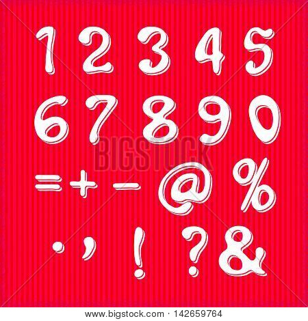 vector set of handwritten numbers and symbols on a white background. For party poster greeting card banner or invitation. Cute numerical icons and signs.