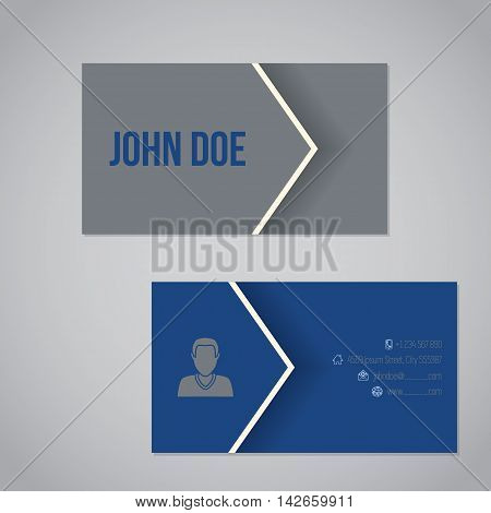 Blue gray business card template design with cool arrow