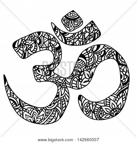 Diwali and Om Ornament symbol. Pattern. Vintage decorative vector elements isolated. Hand drawn Indian design. Hindu symbol. Tattoo yoga spirituality textiles.