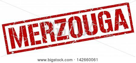 Merzouga stamp. red grunge square isolated sign