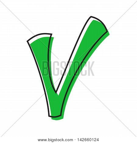 Checkmark icon in flat style isolated on white background. Click and choice symbol
