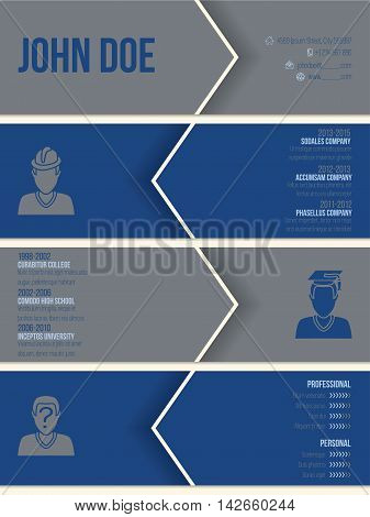 Simplistic modern resume cv curriculum vitae template with arrows and shadows
