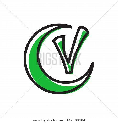Checkmark and crescent icon in flat style isolated on white background. Click and choice symbol