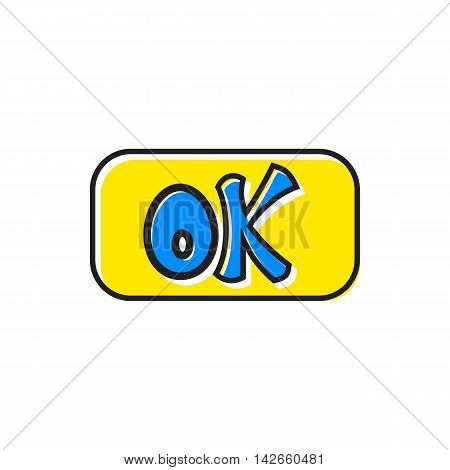 Sign ok icon in flat style isolated on white background. Click and choice symbol