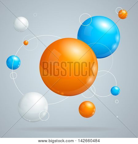 Abstract Background with orange and blue Colored Balls of Different Sizes. Vector illustration