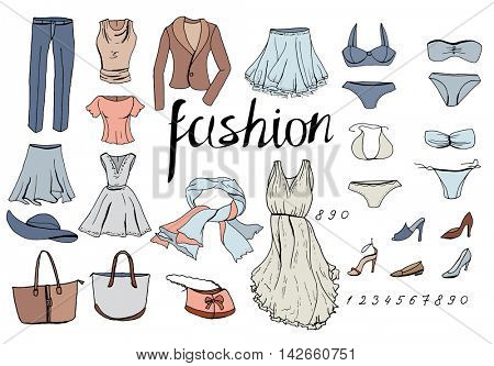 Set of evening woman clothes. Objects on white.