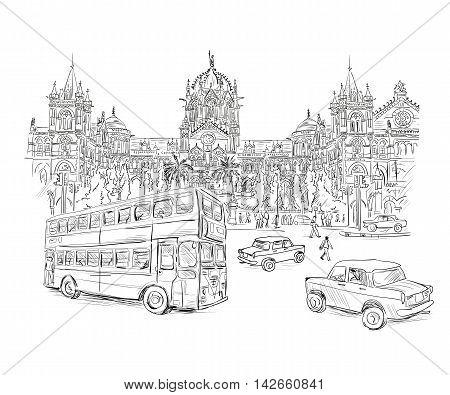 Chhatrapati Shivaji Terminus an historic railway station in Mumbai, Maharashtra, India. Vector illustration