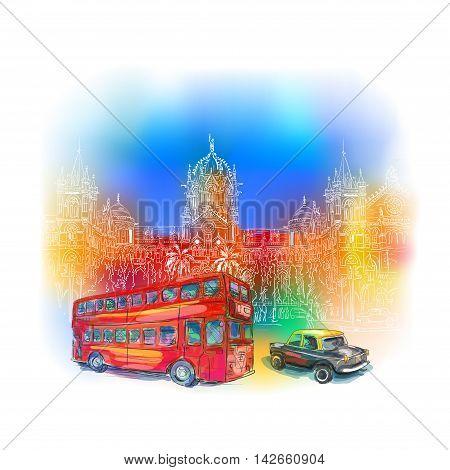Chhatrapati Shivaji Terminus and red bus against the bright sky. An historic railway station in Mumbai, Maharashtra, India. Vector illustration