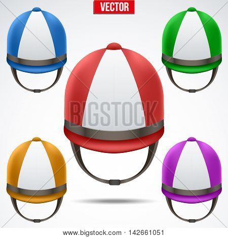 Set of Classic Jockey helmets for horseriding athlete. Front view of Sport equipment. Editable Vector Illustration isolated on a white background.