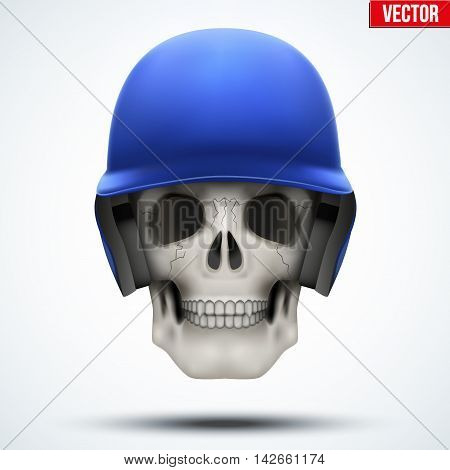 Human skull with baseball helmet. The symbol of strength and power. Vector illustration Isolated on white background.