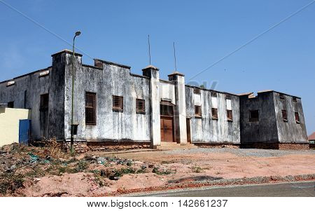 GITEGA, BURUNDI - JULY 10, 2016: Fort from German colonial era, today a prison, in the old capital of Burundi, Gitega.