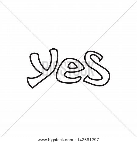 Word yes icon in outline style isolated on white background. Click and choice symbol