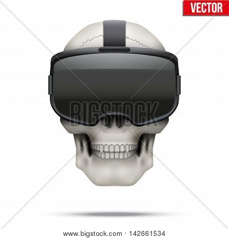 Human skull with Original stereoscopic 3d vr headset . The symbol of Innovation and technology. Editable Vector illustration Isolated on white background.