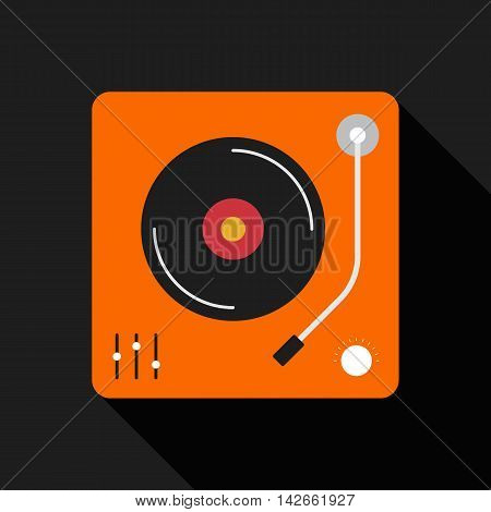 Retro vintage gramophone flat design isolated icon vector illustration