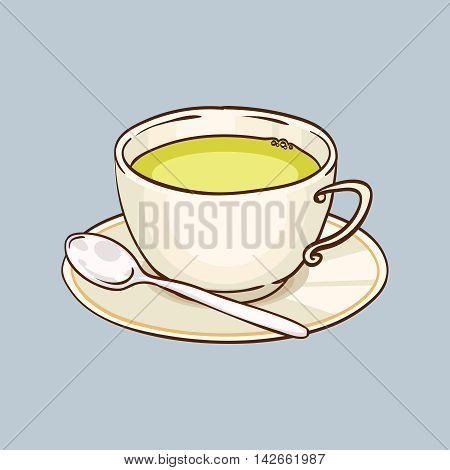 Cup of green tea with saucer and teaspoon. Vector hand drawn illustration, gray background