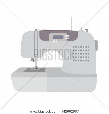 Modern sewing machine on white background. Machine for home self made clothes. sew hobby. Flat isolated vector illustration