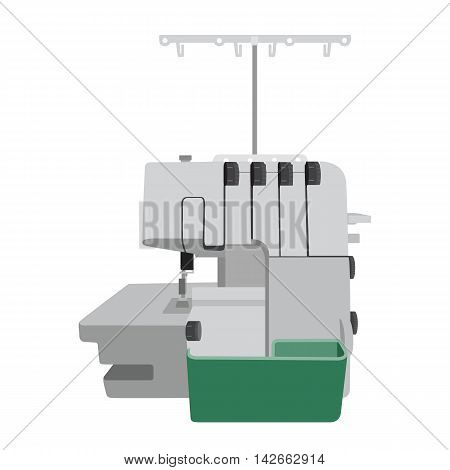 Modern overlock machine on white background. Machine for home self made clothes. Sew hobby. Flat isolated vector illustration
