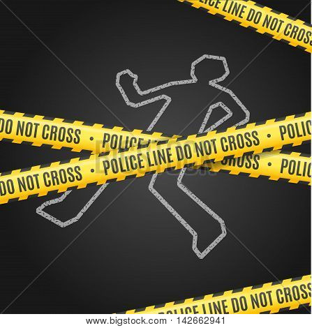 Police Line with a Chalk Outline of the Body. Vector illustration