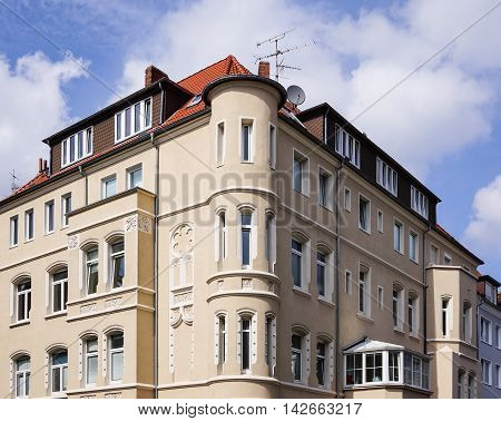 restored historicist building with bay windows in Hannover Germany