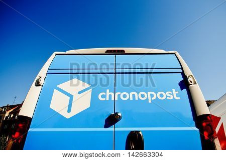 STRASBOURG FRANCE - CIRCA 2016: CHRONOPOST delivery van in center of the city. Chronopost is part of French group La poste