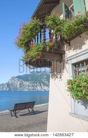 idyllic Place in Village of Torbole at Lake Garda,Italy