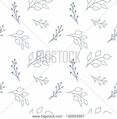 Hand drawn seamless floral pattern. Doodle floral endless texture on white background