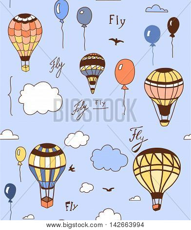 Hand drawn seamless pattern with airships and clouds. Endless texture can be used for wallpaper textile pattern fills web page background.