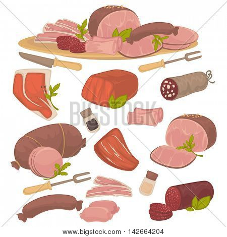 Set of different kinds of meat: bacon, pork, beef, sausage, steak, salami and wurst. Vector illustration isolated on white background
