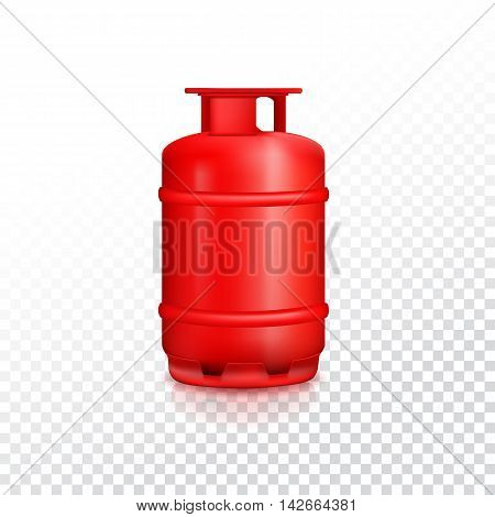 Propane gas balloon with reflexes. Red gas tank, gas container on transparent background.