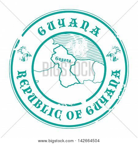 Grunge rubber stamp with the name and map of Guyana, vector illustration