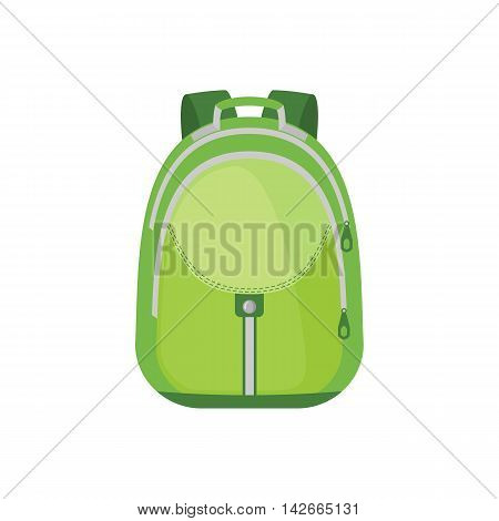 School Backpack Icon in flat style isolated on white background. Vector illustration.
