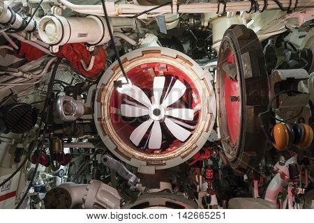 Torpedo tube of submarine, view from inside