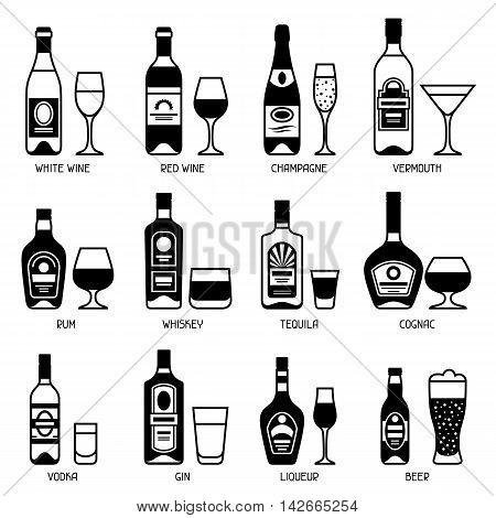 Alcohol drinks icon set. Bottles, glasses for restaurants and bars.