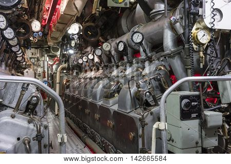 Engine room of submarine with diesel engine