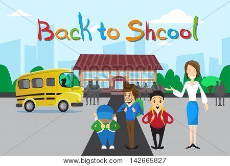 Schoolchildren Teacher Over Schoolbus School Building Background Education Banner Flat Vector Illustration