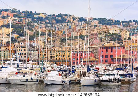 Marina Porto Antico Genova, where many sailboats and yachts are moored, Genoa, Italy.