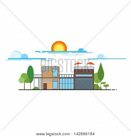 Flat design modern illustration icons set of urban landscape and city life. Buildings colorful icons flat design urban landscape illustration. City urban landscape architecture cityscape town.