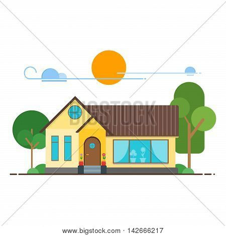 Cool flat line cityscape downtown house building. Urban linear cityscape with trees. Flat design modern urban landscape and city life. Cityscape row townhouse small town street building facade.
