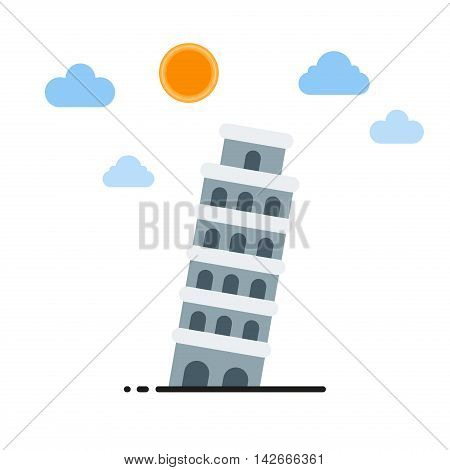 Leaning tower of Pisa vector illustration. Travel landmark europe building tourism leaning tower. Leaning tower of Pisa famous culture tuscany medieval cathedral historic church.