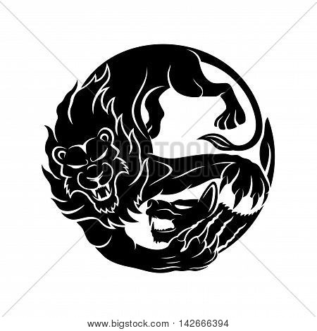 Lion attacking a hyena sign on a white background.