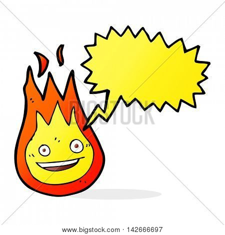 cartoon friendly fireball with speech bubble