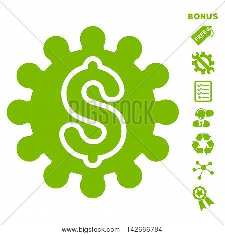 Payment Configuration icon with bonus pictograms. Vector illustration style is flat iconic symbols, eco green color, white background, rounded angles.