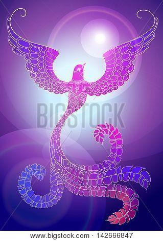Pink-purple ornate doodle bird on shiny background