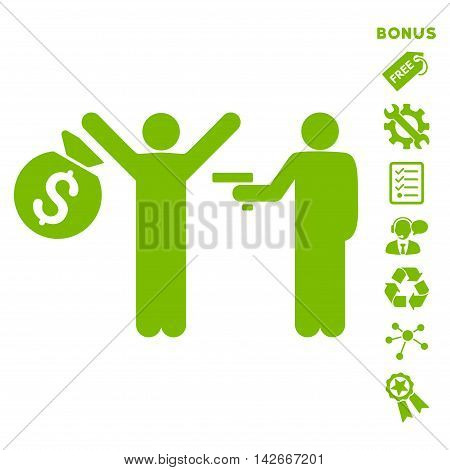 Thief Arrest icon with bonus pictograms. Vector illustration style is flat iconic symbols, eco green color, white background, rounded angles.