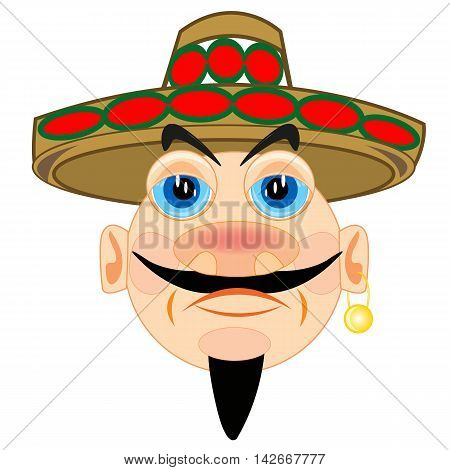 Portrait mexican in national headdress on white background is isolated