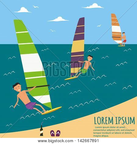Male surfers riding on waves in the sea. A surfer catches a wave. Surfing character. Cute surfer. Vector illustration in flat. Summer vacation background