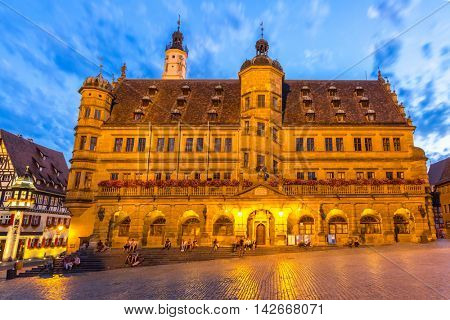 Rothenburg City hall of historic town at Rothenburg ob der Tauber, Franconia, Bavaria, Germany sunset