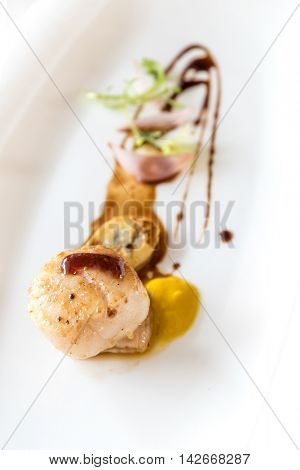 Grilled fried scallop, gourmet japanese cuisine.