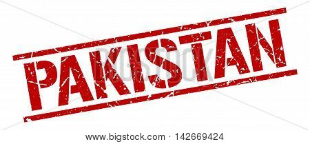 Pakistan stamp. red grunge square isolated sign